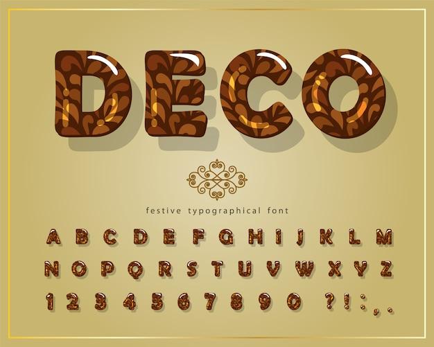 Police brillante décorative. alphabet 3d de dessin animé.