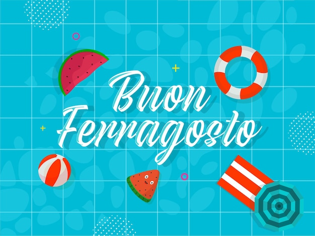 Police de buon ferragosto avec des éléments de plage sur un motif de grille bleu ou un fond de piscine.