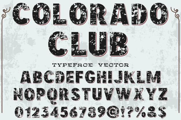 Police de caractères alphabétique style graphique club colorodo