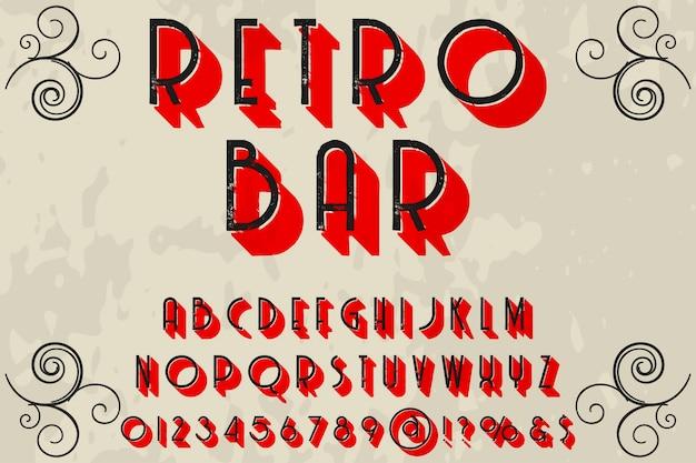 Police de caractères artisanale nommée barre rétro