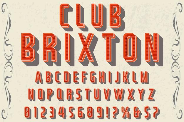 Police de caractères artisanale nommée club brixton