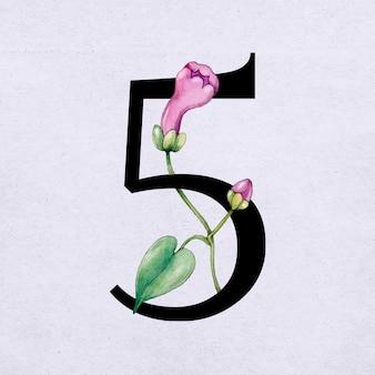 Police de caractères serif vintage numéro 5 vecteur