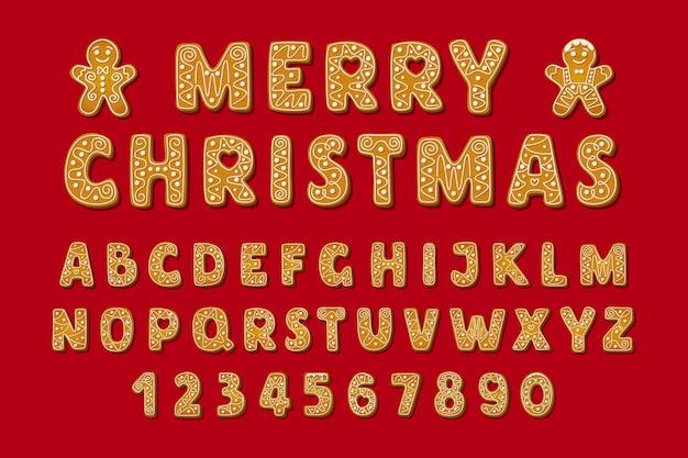 Police et chiffres de l'alphabet en pain d'épice de noël biscuits glacés d'hiver en forme de lettres anglaises avec ...
