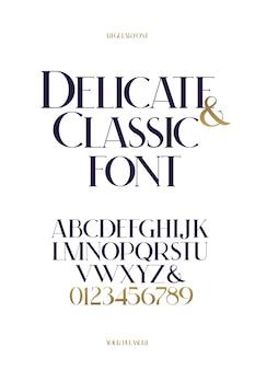 Police classique royale. numéros et alphabet de calligraphie moderne