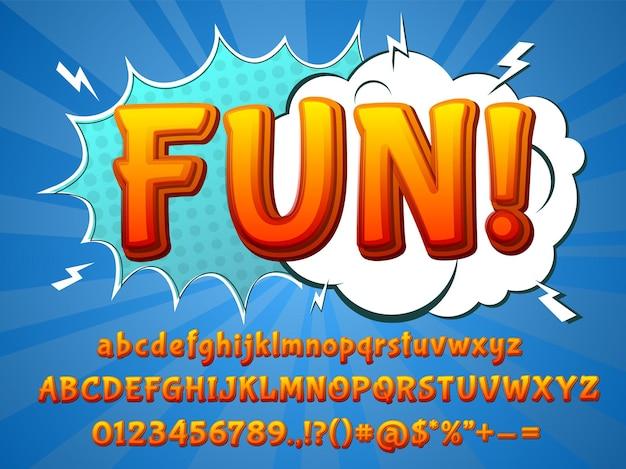 Police comique amusante. police de caractères amusante, lettres colorées en 3d et explosion de dessins animés. collection de vecteurs de numéros récents d'alphabet de typographie d'enfants. illustration de la police de caractères abc, du titre et de la typographie des graffitis