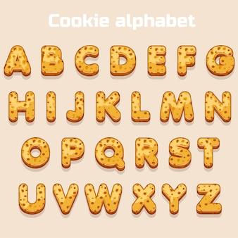 Police de cookie de dessin animé, alphabet biskvit