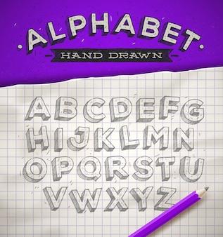 Police de croquis dessinés à la main sur un papier de cahier carré école - illustration