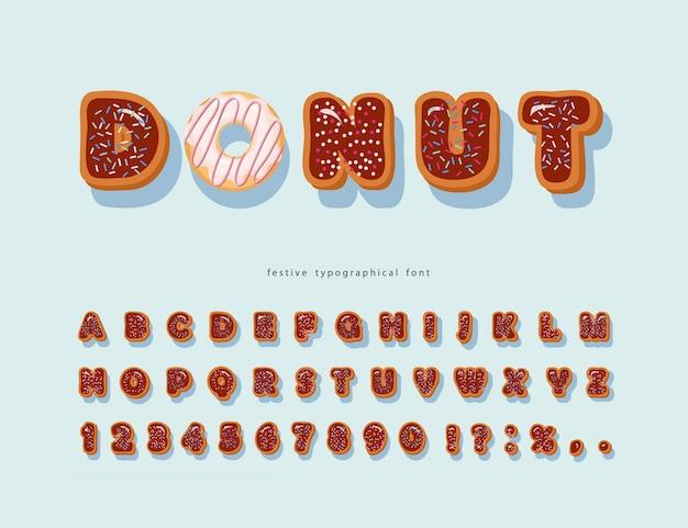 Police décorative douce. alphabet de beignet de dessin animé.