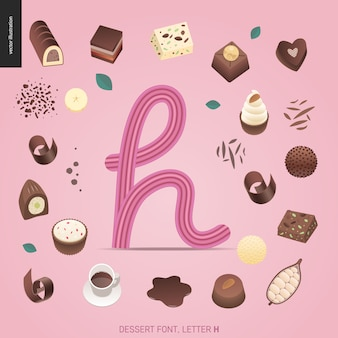 Police de dessert - lettre h - illustration numérique de concept vecteur plat moderne de police de tentation, lettrage doux. caramel, caramel au beurre, biscuit, gaufre, biscuit, lettres à la crème et au chocolat