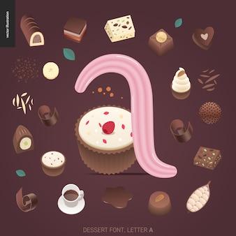 Police de dessert - lettre a - lettrage doux. caramel, caramel au beurre, biscuit, gaufre, biscuit, lettres à la crème et au chocolat