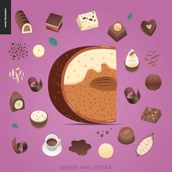 Police de dessert - lettre c - lettrage doux. caramel, caramel au beurre, biscuit, gaufre, biscuit, lettres à la crème et au chocolat