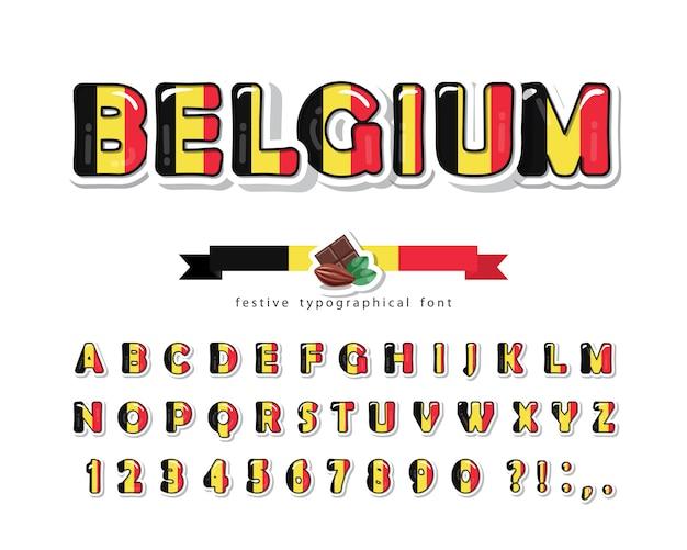 Police de dessin animé de belgique. couleurs du drapeau national de belgique.