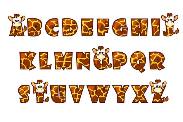 Police de dessin animé girafe lettrage. ensemble alphabet