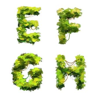 Police de dessin animé mignon vignes et arbustes tropicaux, glyphes efgh
