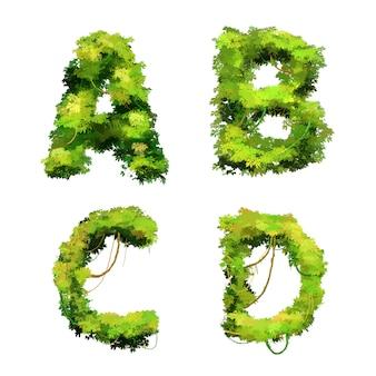 Police de dessin animé mignon vignes et buissons tropicaux, glyphes abcd