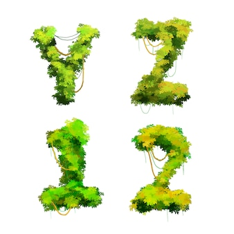 Police de dessin animé mignon vignes et buissons tropicaux, yz 1 2 glyphes