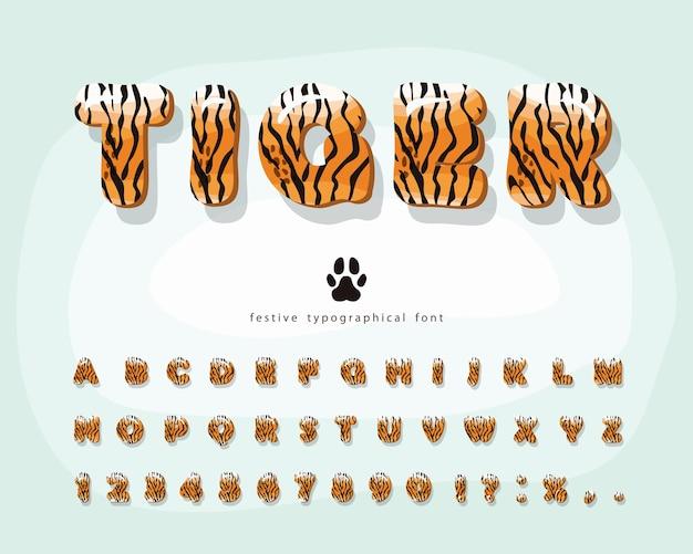 Police de dessin animé de peau de tigre