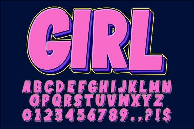 Police de dessin animé rétro alphabet pop art moderne