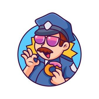 Police avec donut cartoon icon illustration. concept d'icône de personne isolé