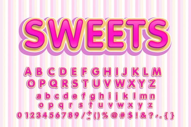 Police douce. lettres roses. alphabet bonbon.