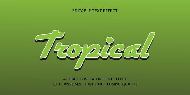Police d'effet de texte modifiable de vecteur tropical