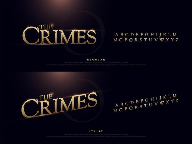 Police élégante alphabet en métal doré. typographie style classique