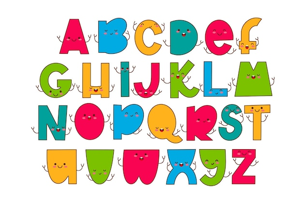 Police d'enfants dans les lettres drôles de style dessin animé avec l'alphabet de typographie colorée de visages mignons