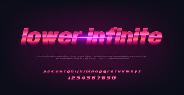 Police de l'espace de la technologie abstraite et alphabet avec lettre infinie inférieure