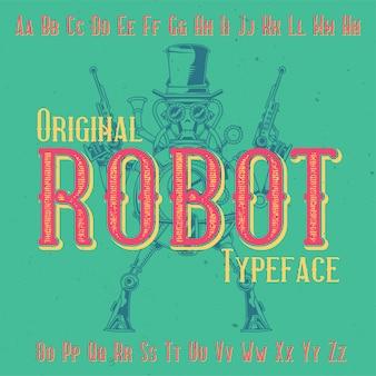 Police d'étiquette originale nommée «robot». bon à utiliser dans n'importe quelle conception d'étiquettes.