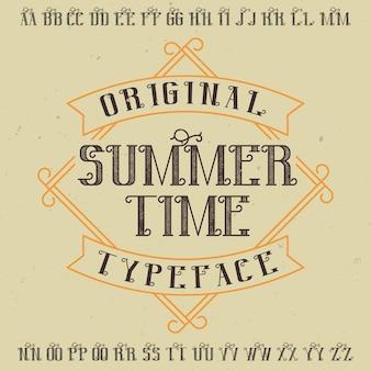 Police d'étiquette originale nommée «summer time». bon à utiliser dans n'importe quelle conception d'étiquettes.