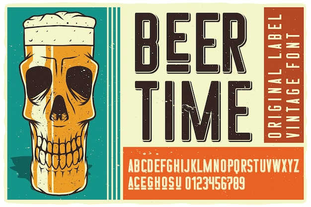 Police d'étiquette de temps de bière
