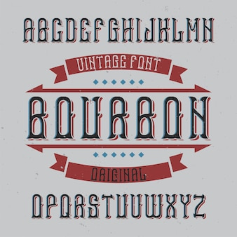 Police d'étiquette vintage nommée bourbon