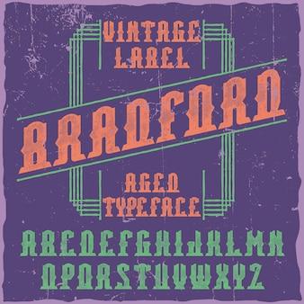 Police d'étiquette vintage nommée bradford.