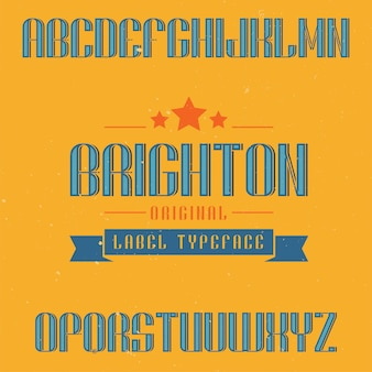 Police d'étiquette vintage nommée brighton