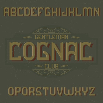 Police d'étiquette vintage nommée cognac.