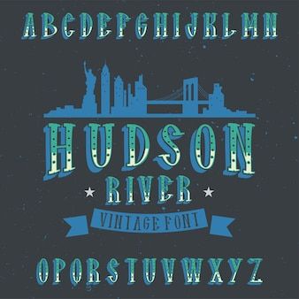 Police d'étiquette vintage nommée hudson