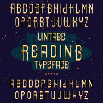 Police d'étiquette vintage nommée reading. bon à utiliser dans toutes les étiquettes créatives.