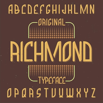Police d'étiquette vintage nommée richmond.