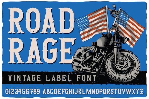 Police d'étiquette vintage nommée road rage