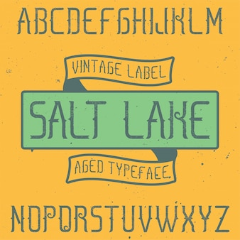 Police d'étiquette vintage nommée salt lake. bon à utiliser dans toutes les étiquettes créatives.