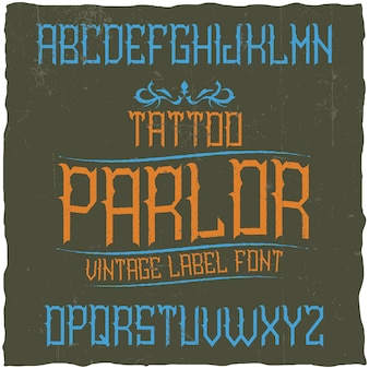 Police d'étiquette vintage nommée tattoo parlour.