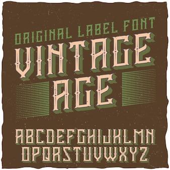 Police d'étiquette vintage nommée vintage age.