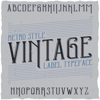 Police d'étiquette vintage nommée vintage.
