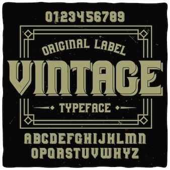 Police d'étiquette vintage nommée