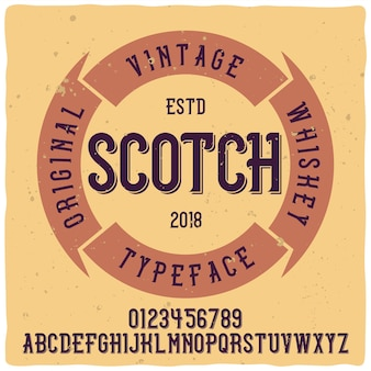 Police d'étiquette vintage nommée whisky. bonne police artisanale.