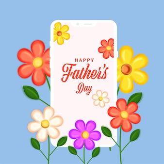 Police de la fête des pères heureuse dans l'écran du smartphone avec des fleurs colorées décorées sur fond bleu.