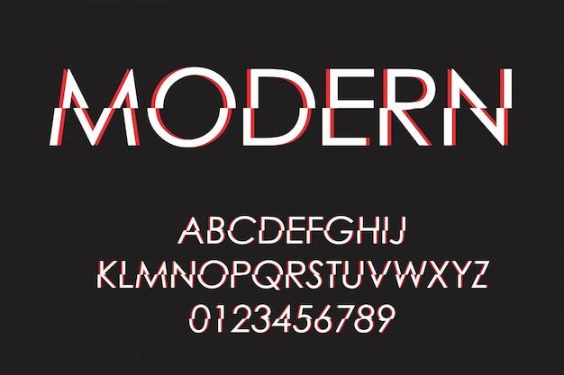 Police futuriste moderne et alphabet, police de caractères, lettres et chiffres, typographie.