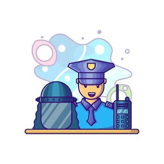 Police avec illustration de dessin animé d'équipement. concept de fête du travail blanc isolé. style de bande dessinée plat