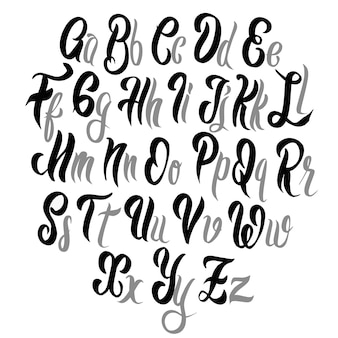 Police de lettrage au pinceau. alphabet d'illustration. dessiné à la main