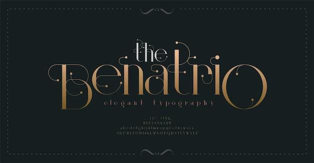 Police de lettres de l'alphabet vintage de luxe et typographie de nombre élégante police serif de mariage rétro classique